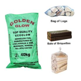 2 bags of coal 1 bag of logs 1 briquette
